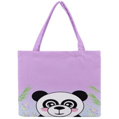 Panda Happy Birthday Pink Face Smile Animals Flower Purple Green Mini Tote Bag
