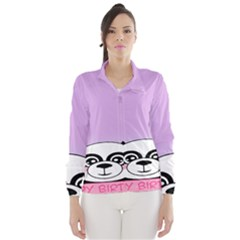 Panda Happy Birthday Pink Face Smile Animals Flower Purple Green Wind Breaker (Women)