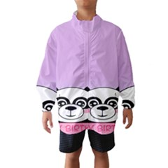 Panda Happy Birthday Pink Face Smile Animals Flower Purple Green Wind Breaker (Kids)