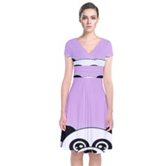 Panda Happy Birthday Pink Face Smile Animals Flower Purple Green Short Sleeve Front Wrap Dress