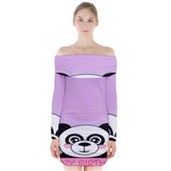Panda Happy Birthday Pink Face Smile Animals Flower Purple Green Long Sleeve Off Shoulder Dress