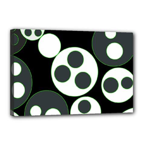 Origami Leaf Sea Dragon Circle Line Green Grey Black Canvas 18  X 12