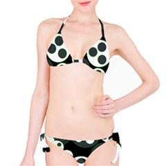 Origami Leaf Sea Dragon Circle Line Green Grey Black Bikini Set