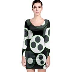 Origami Leaf Sea Dragon Circle Line Green Grey Black Long Sleeve Bodycon Dress
