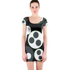 Origami Leaf Sea Dragon Circle Line Green Grey Black Short Sleeve Bodycon Dress