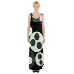 Origami Leaf Sea Dragon Circle Line Green Grey Black Maxi Thigh Split Dress