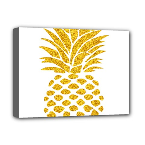 Pineapple Glitter Gold Yellow Fruit Deluxe Canvas 16  x 12