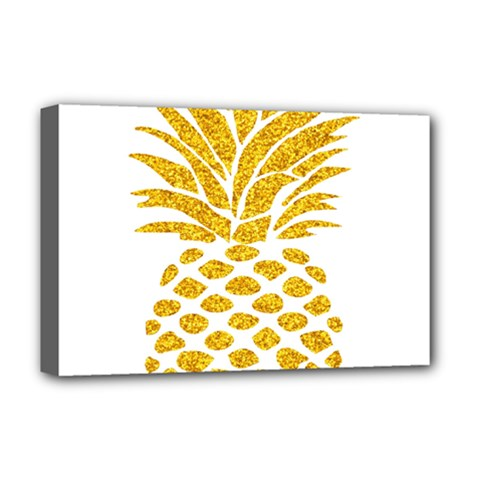 Pineapple Glitter Gold Yellow Fruit Deluxe Canvas 18  x 12
