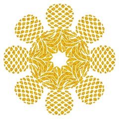 Pineapple Glitter Gold Yellow Fruit Hook Handle Umbrellas (Large)