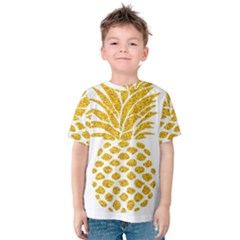 Pineapple Glitter Gold Yellow Fruit Kids  Cotton Tee