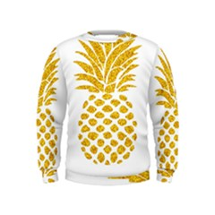 Pineapple Glitter Gold Yellow Fruit Kids  Sweatshirt