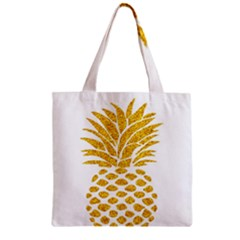 Pineapple Glitter Gold Yellow Fruit Zipper Grocery Tote Bag