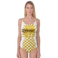 Pineapple Glitter Gold Yellow Fruit Camisole Leotard
