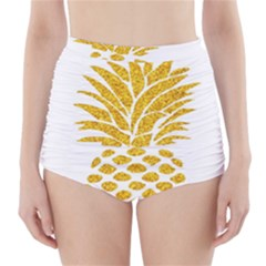 Pineapple Glitter Gold Yellow Fruit High-Waisted Bikini Bottoms