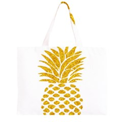 Pineapple Glitter Gold Yellow Fruit Large Tote Bag