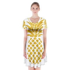 Pineapple Glitter Gold Yellow Fruit Short Sleeve V-neck Flare Dress
