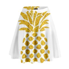 Pineapple Glitter Gold Yellow Fruit High Waist Skirt