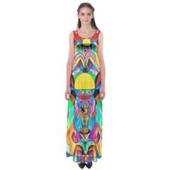Arcturian Metamorphosis Grid   Empire Waist Maxi Dress