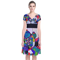 Aether   Short Sleeve Front Wrap Dress