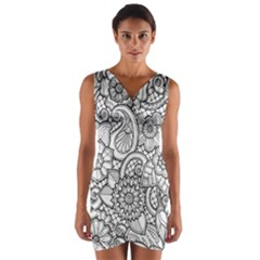 These Flowers Need Colour! Wrap Front Bodycon Dress