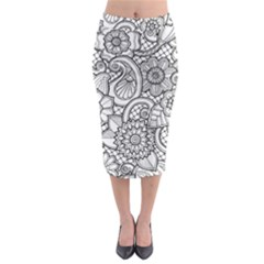 These Flowers Need Colour! Midi Pencil Skirt