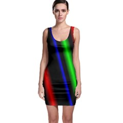 Multi Color Neon Background Sleeveless Bodycon Dress