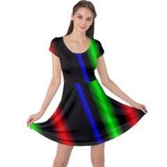 Multi Color Neon Background Cap Sleeve Dresses