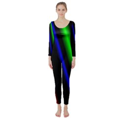 Multi Color Neon Background Long Sleeve Catsuit