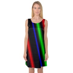 Multi Color Neon Background Sleeveless Satin Nightdress