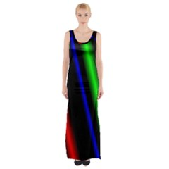 Multi Color Neon Background Maxi Thigh Split Dress