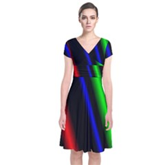 Multi Color Neon Background Short Sleeve Front Wrap Dress