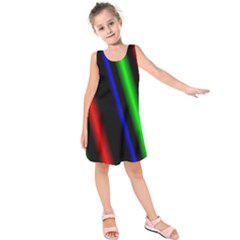 Multi Color Neon Background Kids  Sleeveless Dress