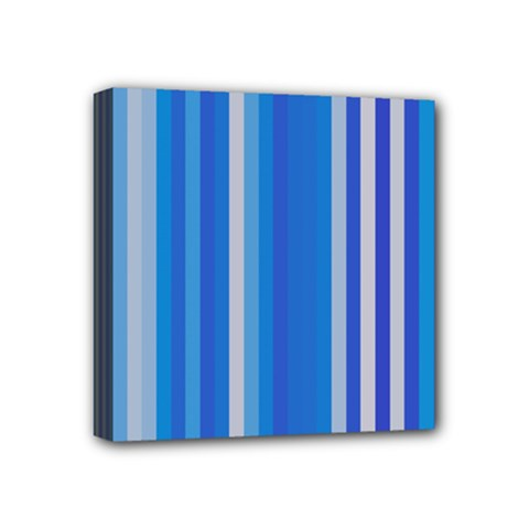 Color Stripes Blue White Pattern Mini Canvas 4  x 4