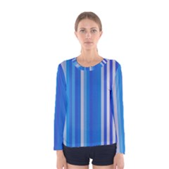Color Stripes Blue White Pattern Women s Long Sleeve Tee