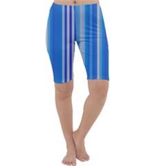 Color Stripes Blue White Pattern Cropped Leggings