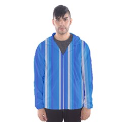 Color Stripes Blue White Pattern Hooded Wind Breaker (Men)