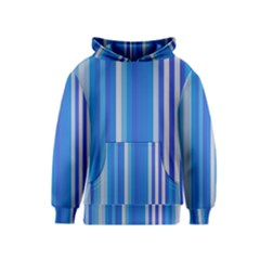 Color Stripes Blue White Pattern Kids  Pullover Hoodie