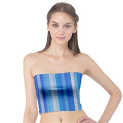 Color Stripes Blue White Pattern Tube Top