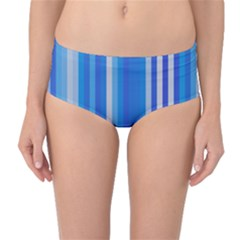 Color Stripes Blue White Pattern Mid Waist Bikini Bottoms