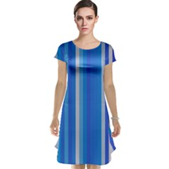 Color Stripes Blue White Pattern Cap Sleeve Nightdress