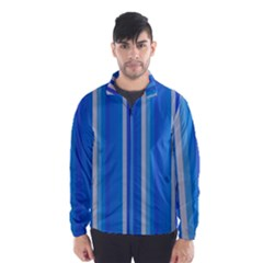Color Stripes Blue White Pattern Wind Breaker (Men)