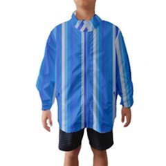 Color Stripes Blue White Pattern Wind Breaker (Kids)
