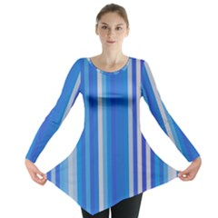 Color Stripes Blue White Pattern Long Sleeve Tunic
