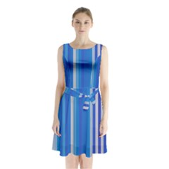 Color Stripes Blue White Pattern Sleeveless Chiffon Waist Tie Dress