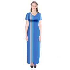 Color Stripes Blue White Pattern Short Sleeve Maxi Dress