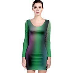 Course Gradient Color Pattern Long Sleeve Bodycon Dress