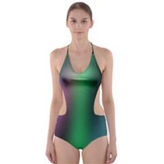 Course Gradient Color Pattern Cut-Out One Piece Swimsuit