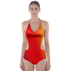 Multi Color Pattern Background Cut-Out One Piece Swimsuit