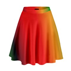 Multi Color Pattern Background High Waist Skirt