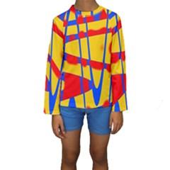Graphic Design Graphic Design Kids  Long Sleeve Swimwear